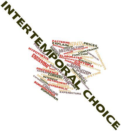 hipótesis: Nube palabra abstracta para la elección intertemporal con etiquetas y términos relacionados Foto de archivo