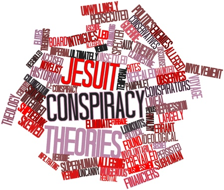 theology: Abstract word cloud for Jesuit conspiracy theories with related tags and terms