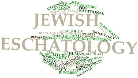 Abstract word cloud for Jewish eschatology with related tags and terms