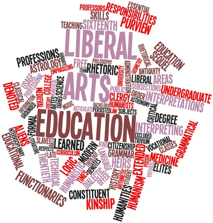 humanism: Abstract word cloud for Liberal arts education with related tags and terms Stock Photo