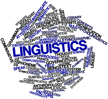 finite: Abstract word cloud for Linguistics with related tags and terms Stock Photo