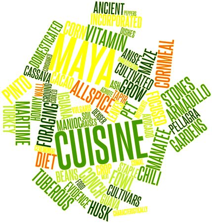 manatee: Abstract word cloud for Maya cuisine with related tags and terms Stock Photo