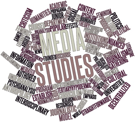 sociologia: Nube palabra abstracta para estudios de medios con las etiquetas y términos relacionados