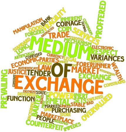Abstract word cloud for Medium of exchange with related tags and terms Stock Photo - 16560427