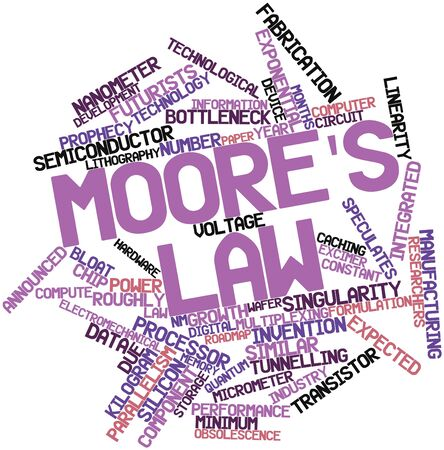 wafers: Abstract word cloud for Moores law with related tags and terms