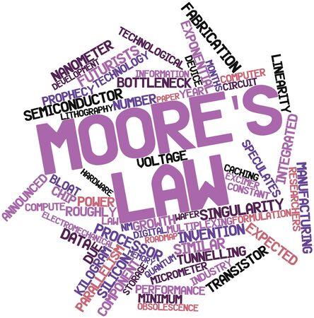 silicio: Nube palabra abstracta por la ley de Moore con etiquetas y t�rminos relacionados Foto de archivo