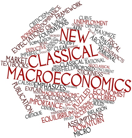 concurrent: Abstract word cloud for New classical macroeconomics with related tags and terms Stock Photo