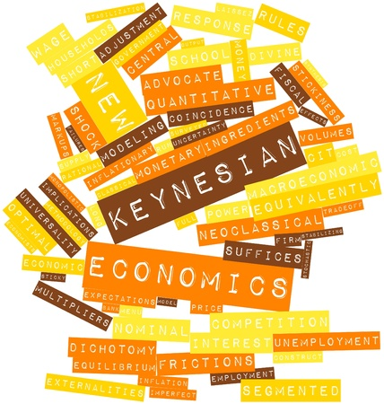 remain: Abstract word cloud for New Keynesian economics with related tags and terms Stock Photo