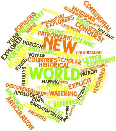coined: Abstract word cloud for New World with related tags and terms