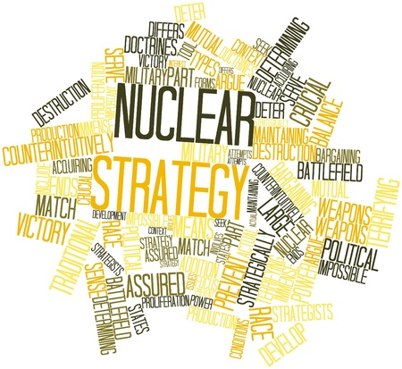 deter: Abstract word cloud for Nuclear strategy with related tags and terms Stock Photo