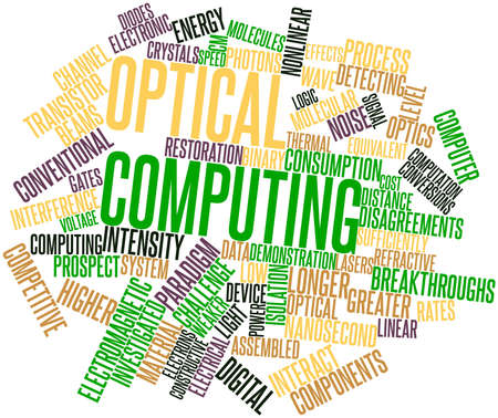 data transmission: Abstract word cloud for Optical computing with related tags and terms Stock Photo
