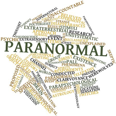 extrasensory: Abstract word cloud for Paranormal with related tags and terms Stock Photo