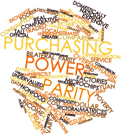 nominal: Abstract word cloud for Purchasing power parity with related tags and terms Stock Photo