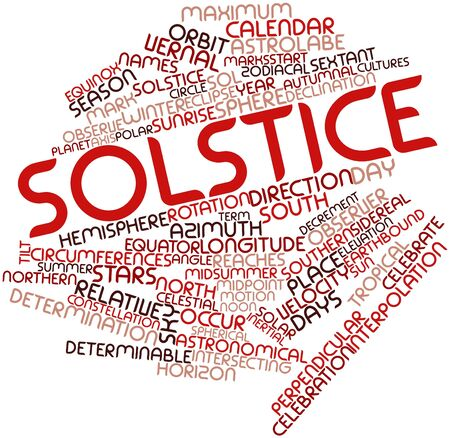 sol: Abstract word cloud for Solstice with related tags and terms Stock Photo