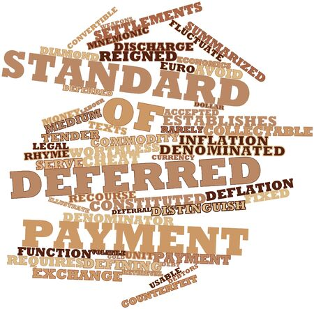 summarized: Abstract word cloud for Standard of deferred payment with related tags and terms Stock Photo