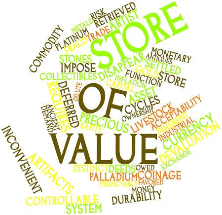 deeds: Abstract word cloud for Store of value with related tags and terms