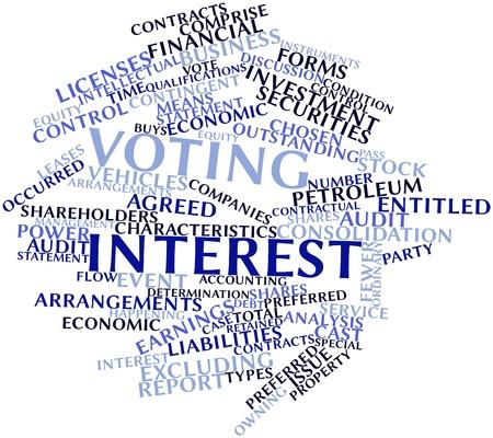 retained: Nube palabra abstracta para Votar interés con etiquetas y términos relacionados Foto de archivo