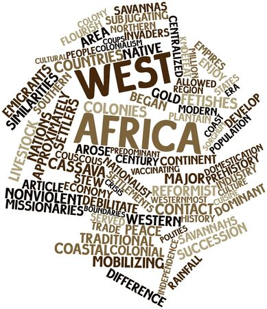 emigrati: Word cloud astratto per l'Africa occidentale con tag correlati e termini Archivio Fotografico