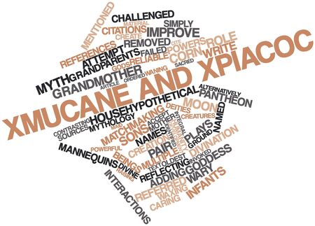 Abstract word cloud for Xmucane and Xpiacoc with related tags and terms Stock Photo - 16559324