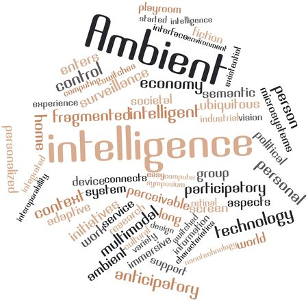 existential: Abstract word cloud for Ambient intelligence with related tags and terms Stock Photo