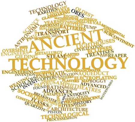 古代技術と関連するタグと用語の抽象的な言葉の雲