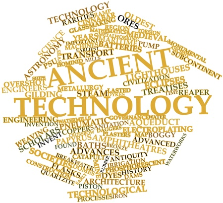hominid: Abstract word cloud for Ancient technology with related tags and terms Stock Photo