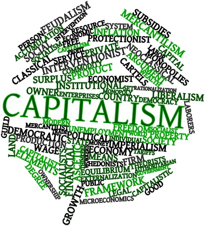 Abstract word cloud for Capitalism with related tags and terms photo