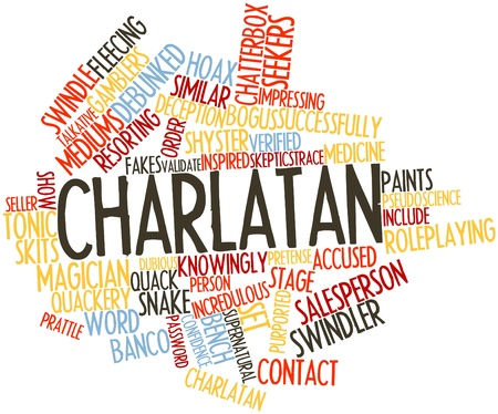 named person: Abstract word cloud for Charlatan with related tags and terms
