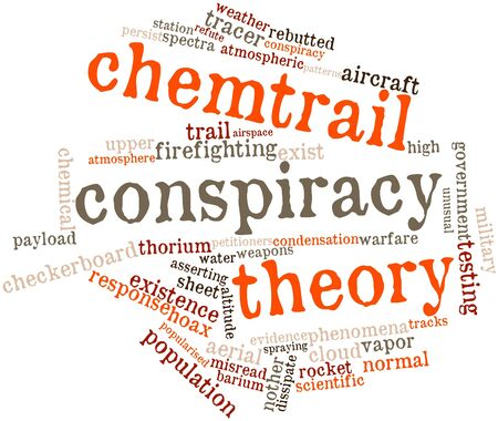 weather terms: Abstract word cloud for Chemtrail conspiracy theory with related tags and terms
