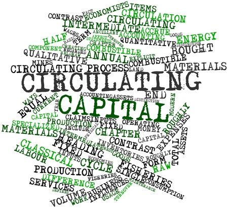 accrue: Abstract word cloud for Circulating capital with related tags and terms Stock Photo
