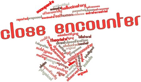 Abstract word cloud for Close encounter with related tags and terms Stock Photo - 16559271