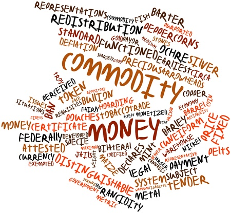 Abstract word cloud for Commodity money with related tags and terms Stock Photo