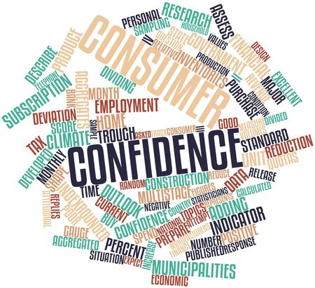 Abstract word cloud for Consumer confidence with related tags and terms photo