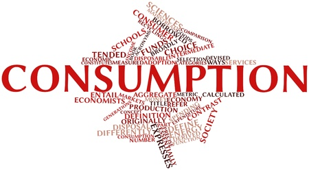 economists: Abstract word cloud for Consumption with related tags and terms Stock Photo
