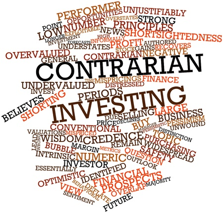 intrinsic: Abstract word cloud for Contrarian investing with related tags and terms Stock Photo