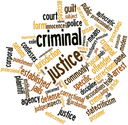 offenses: Abstract word cloud for Criminal justice with related tags and terms Stock Photo