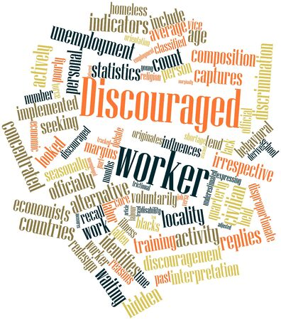 redesign: Abstract word cloud for Discouraged worker with related tags and terms