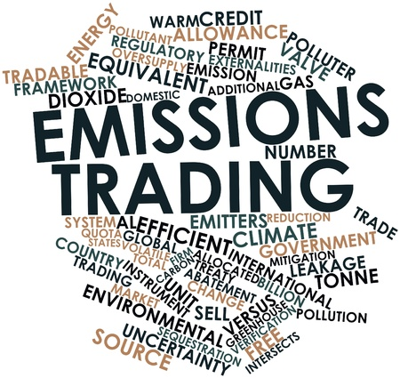 emission: Abstract word cloud for Emissions trading with related tags and terms Stock Photo
