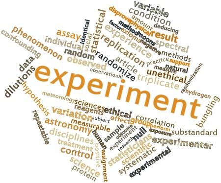 ensures: Abstract word cloud for Experiment with related tags and terms Stock Photo