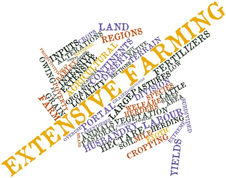 pastoral: Abstract word cloud for Extensive farming with related tags and terms Stock Photo