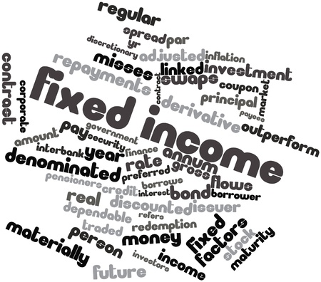 obliged: Abstract word cloud for Fixed income with related tags and terms Stock Photo