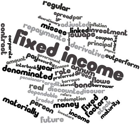 clavados: Nube palabra abstracta para renta fija con etiquetas y términos relacionados