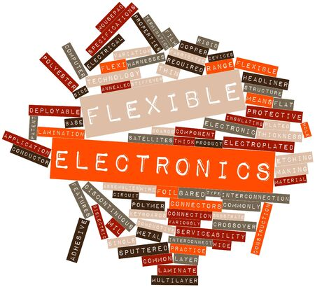 Abstract word cloud for Flexible electronics with related tags and terms Imagens