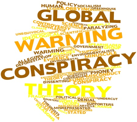 Abstract word cloud for Global warming conspiracy theory with related tags and terms Stock Photo - 16559508
