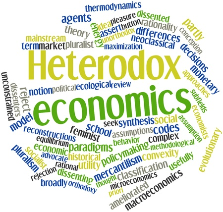 critique: Abstract word cloud for Heterodox economics with related tags and terms