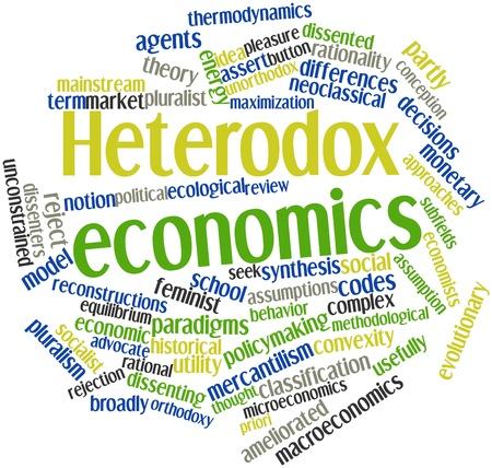 sociologia: Nube palabra abstracta para la economía heterodoxa con las etiquetas y términos relacionados
