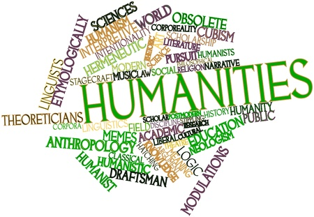 humanistic: Abstract word cloud for Humanities with related tags and terms