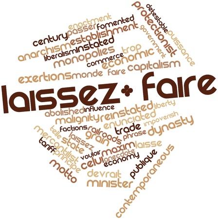 contemporaneous: Word cloud astratto per laissez-faire con tag correlati e termini