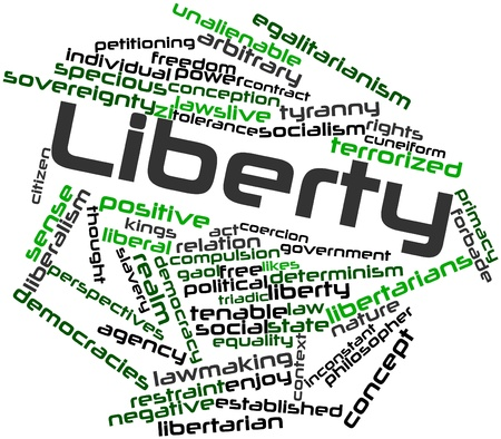 egalitarian: Abstract word cloud for Liberty with related tags and terms