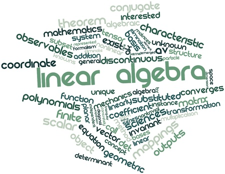 finite: Abstract word cloud for Linear algebra with related tags and terms Stock Photo